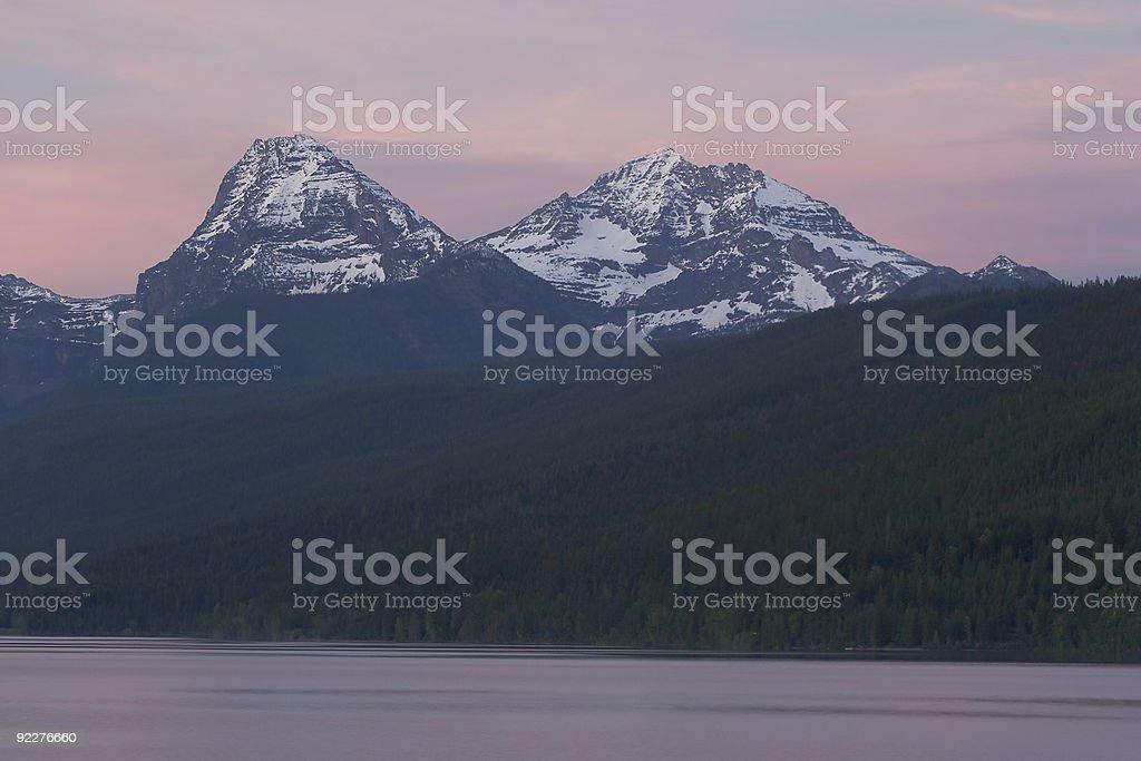 Sunset Lake McDonald stock photo