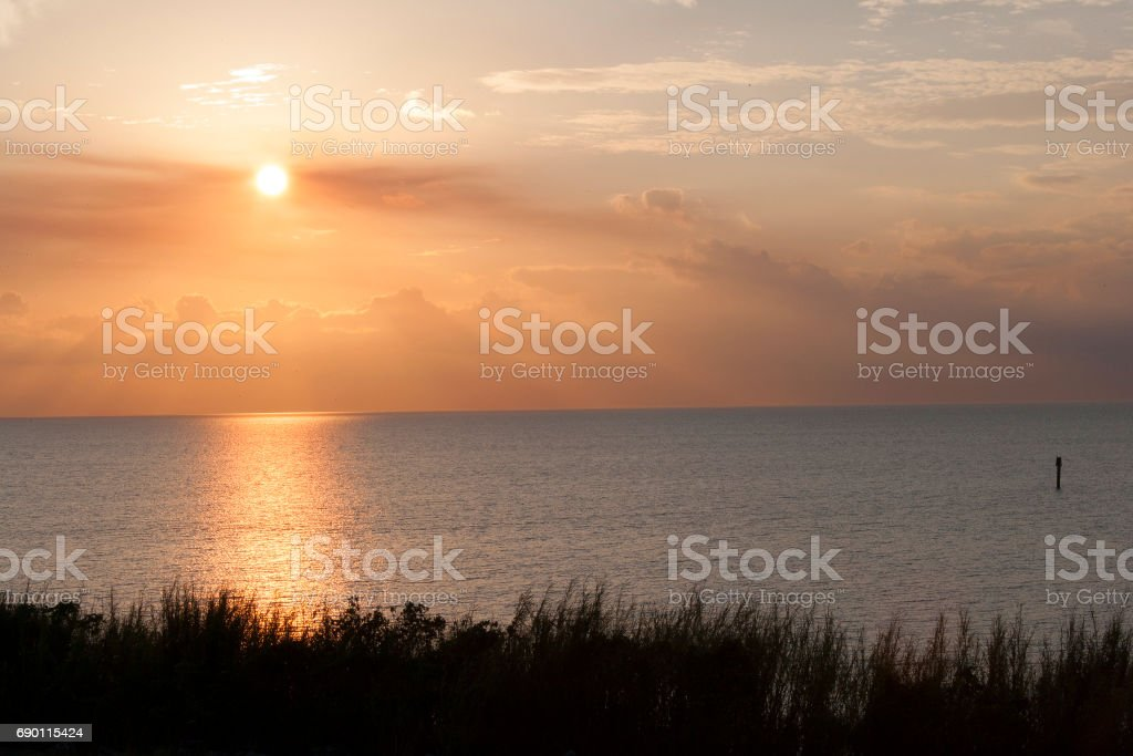 Sunset Lake Okeechobee Florida stock photo