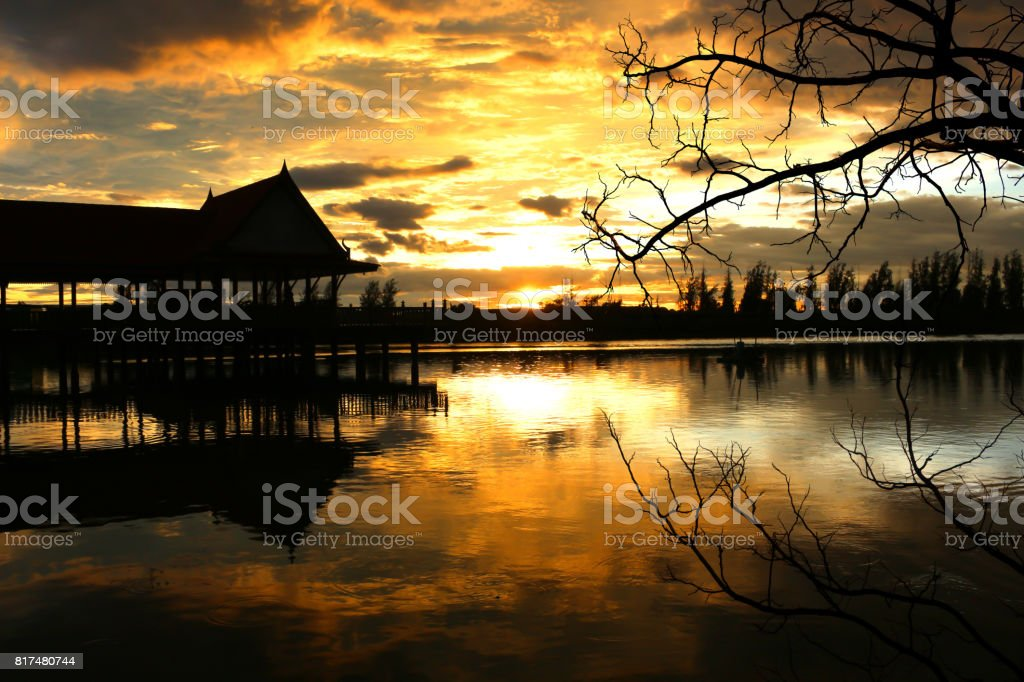 sunset lake view in thailand stock photo