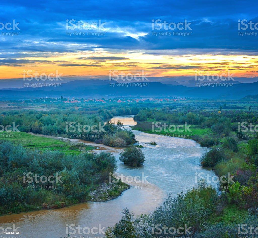 Sunset Landscape Aries River and Apuseni Mountains Transylvania Romania stock photo