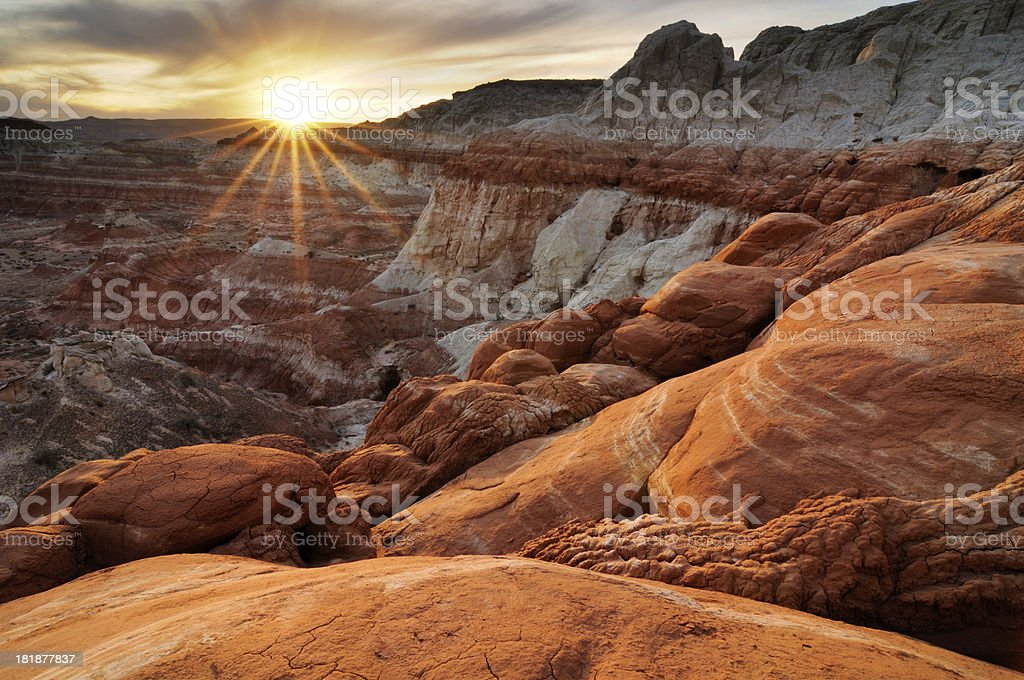 Sunset landscape at Paria Rimrocks, Utah, USA stock photo
