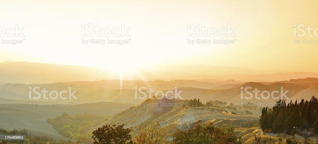 Sunset landscape from Tuscany stock photo