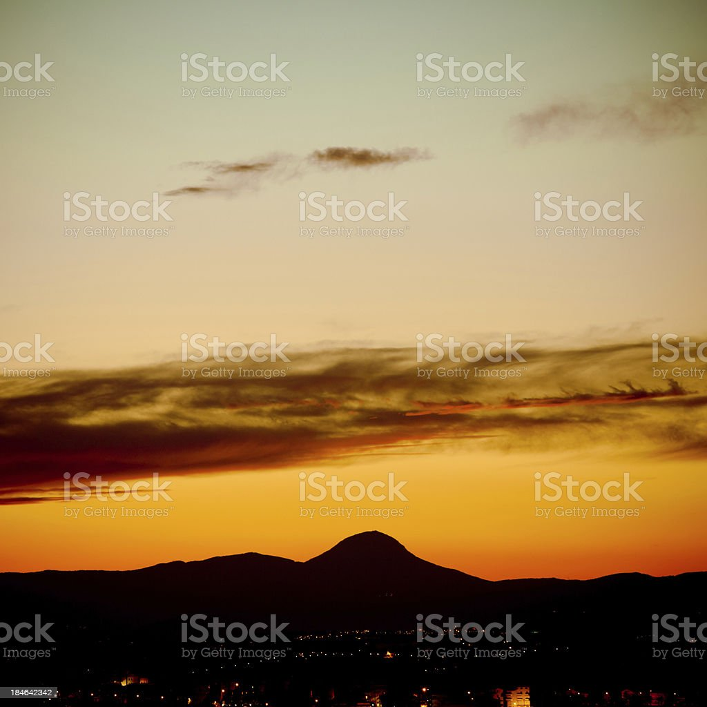 Sunset Landscape in Tuscany's Hills royalty-free stock photo