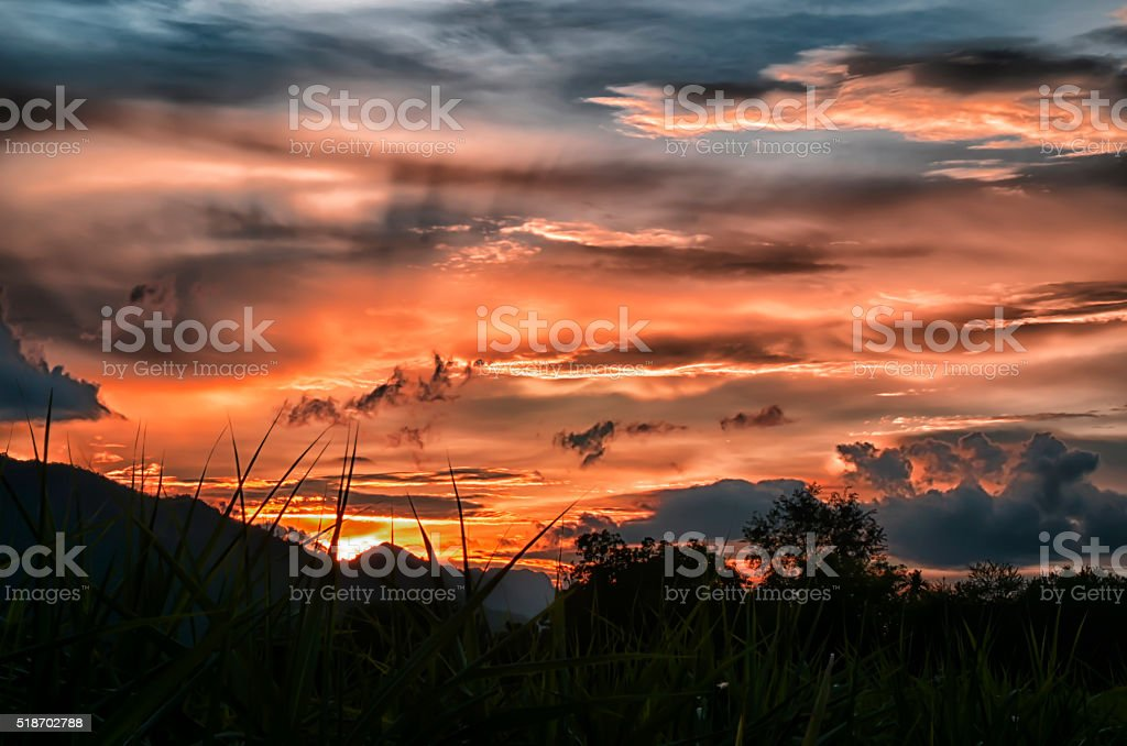 Sunset, landscape nature Blurred stock photo