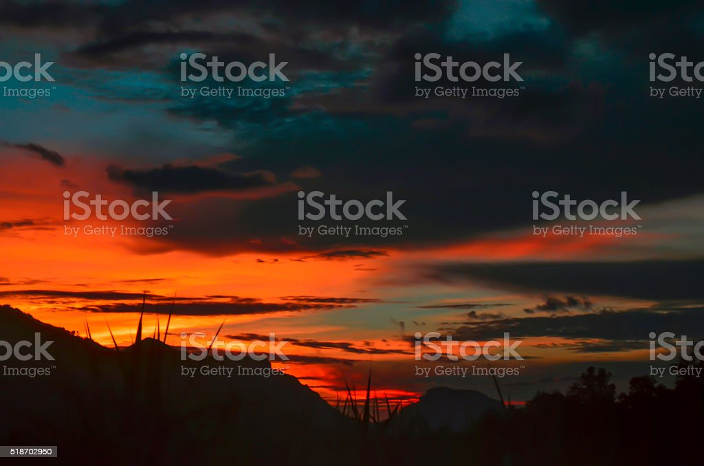 Sunset, landscape nature stock photo