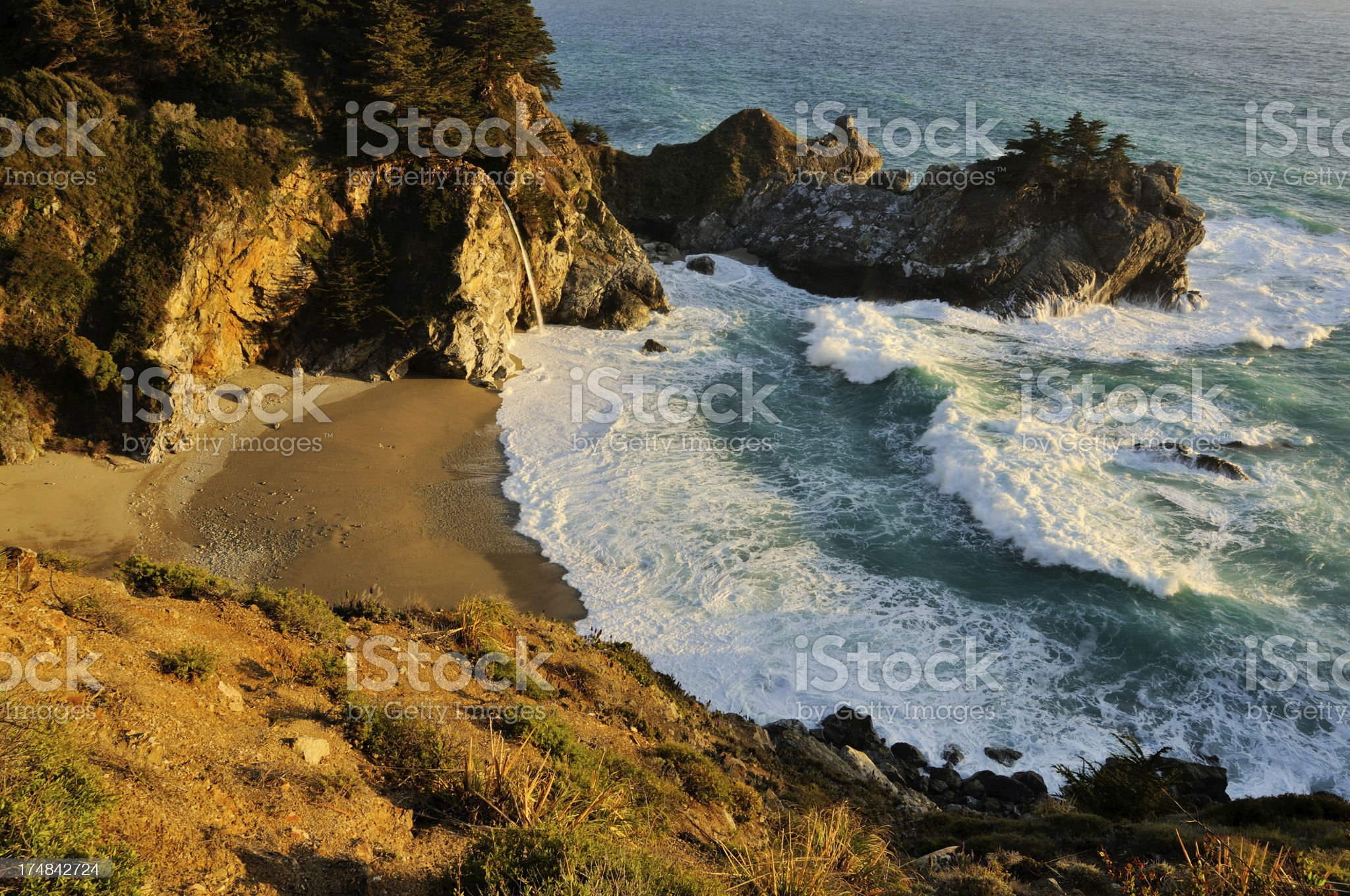 Sunset landscape of Big Sur McWay Falls royalty-free stock photo
