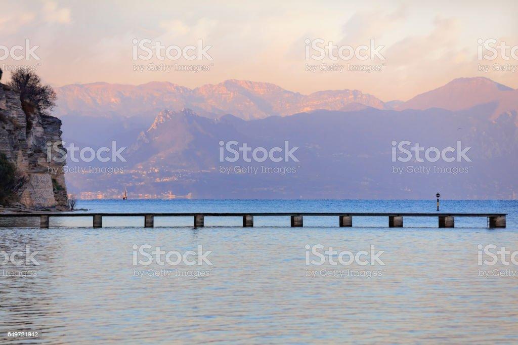 Sunset landscape of Garda lake stock photo