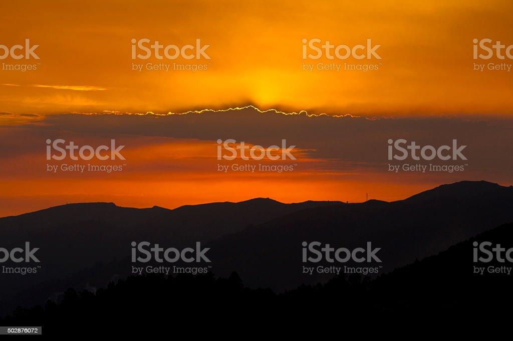 Sunset Landscape of Geres Natural Park stock photo