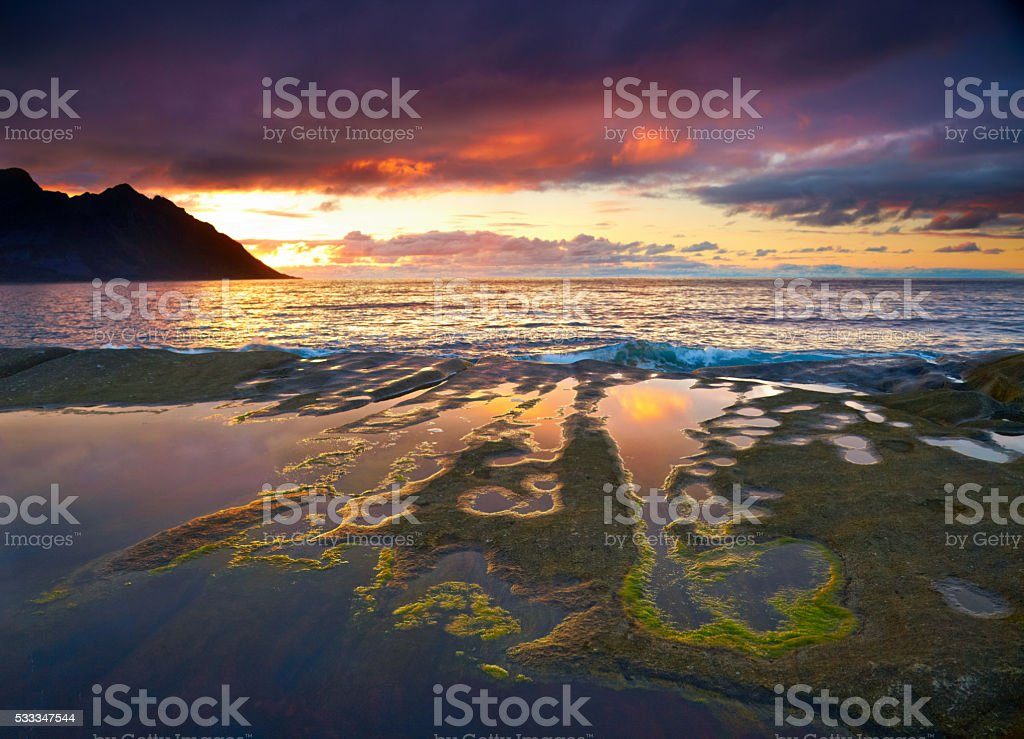 Sunset landscape of Northern Norway. Senja island stock photo