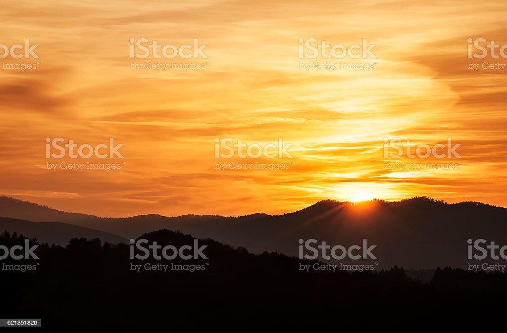 Sunset landscape panorama stock photo