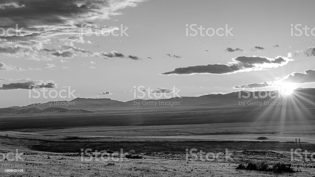 Sunset landscape photograph of Kings River Valley, Nevada stock photo