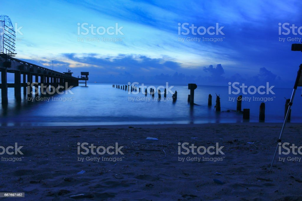 sunset landscape twilight time beautiful at bridge harbor and sea in evening for background stock photo