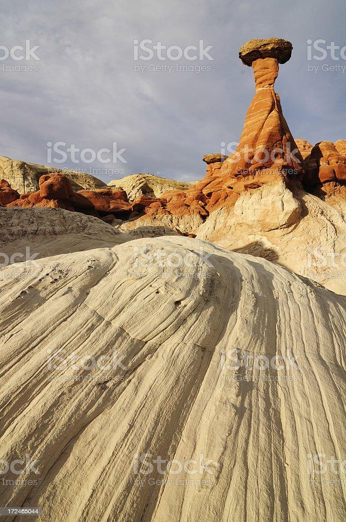 Sunset landscape with hoodoos at Paria Rimrocks, Utah, USA royalty-free stock photo