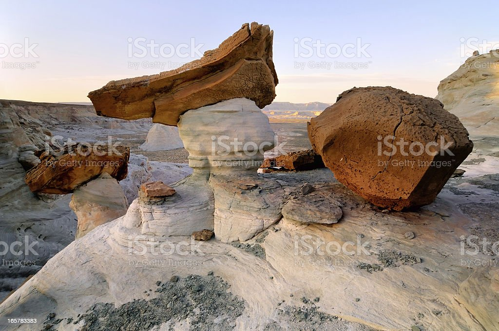 Sunset landscape with hoodoos at Stud Horse Point, Arizona, USA stock photo