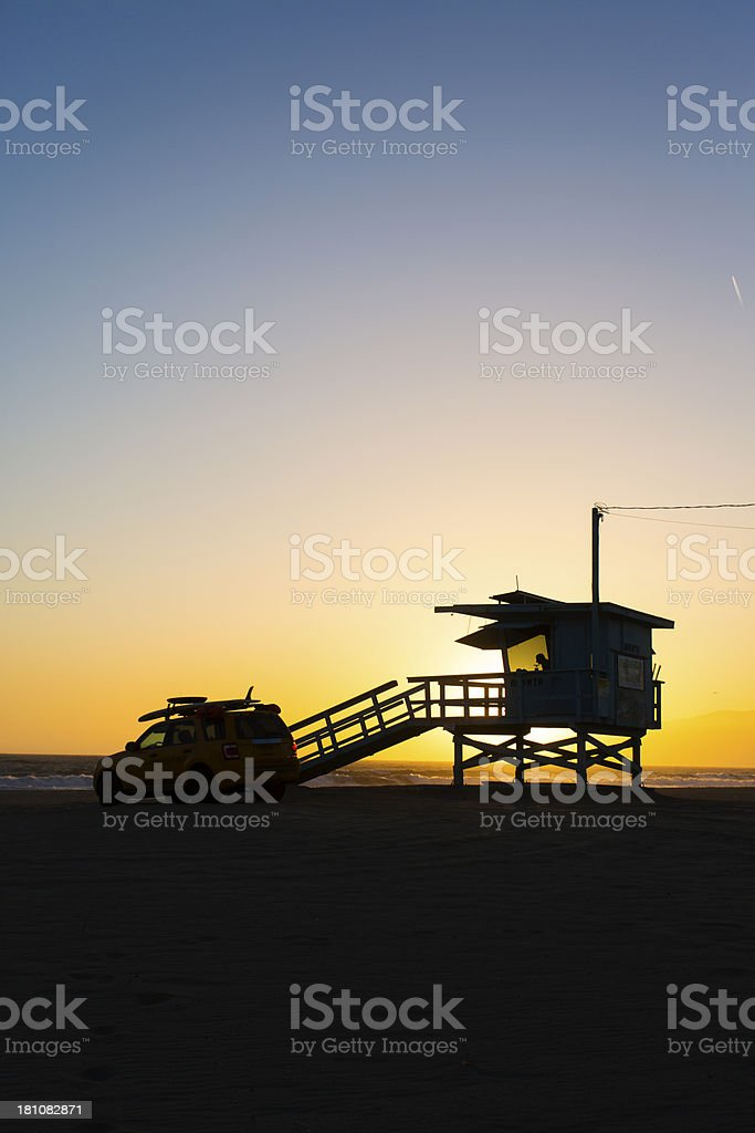 Sunset Lifeguard Tower royalty-free stock photo