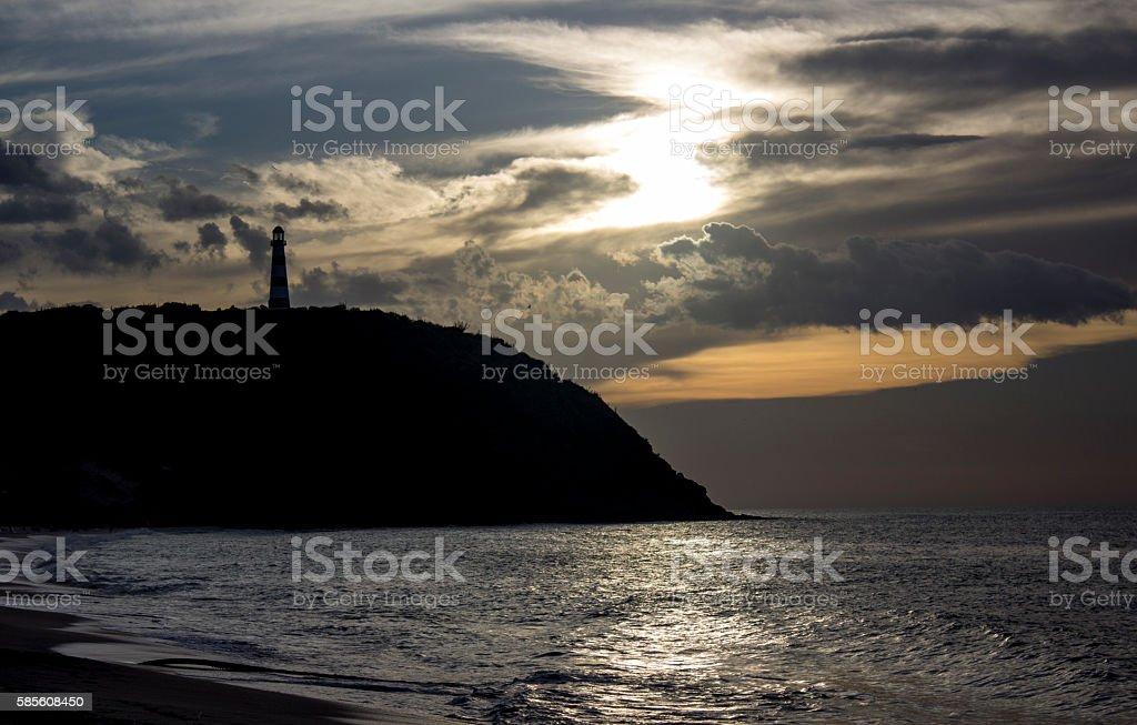 Sunset, lighthouse, beach, Margarita stock photo