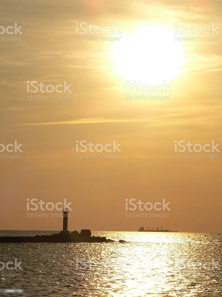 Sunset lighthouse royalty-free stock photo