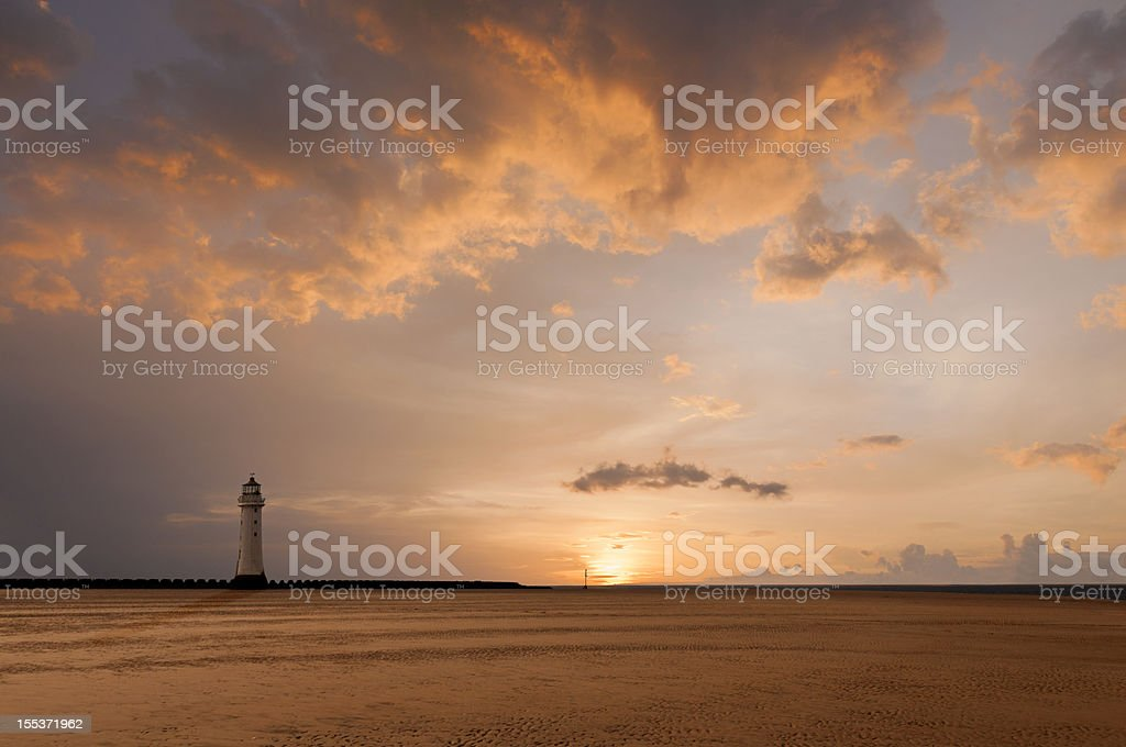 Sunset Lighthouse royalty-free stock photo