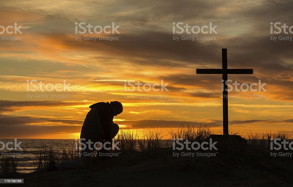 Sunset Man Of Prayer stock photo