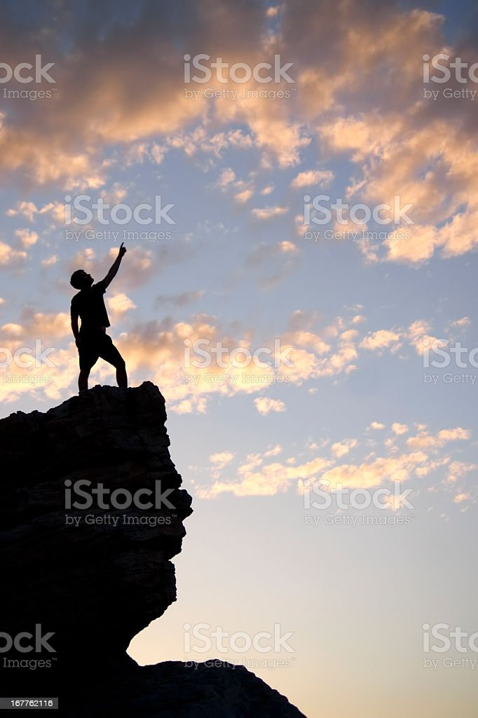 sunset man silhouette leadership royalty-free stock photo