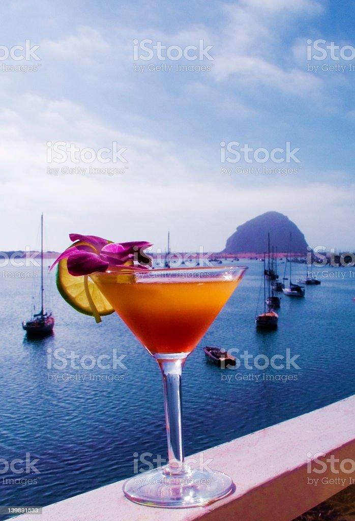 Sunset Martini at Morro Bay stock photo