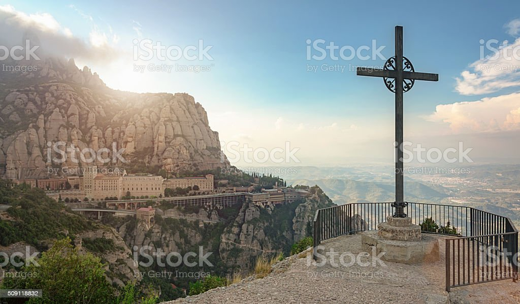 Sunset Montserrat Monastery Catalonia Christian Cross stock photo
