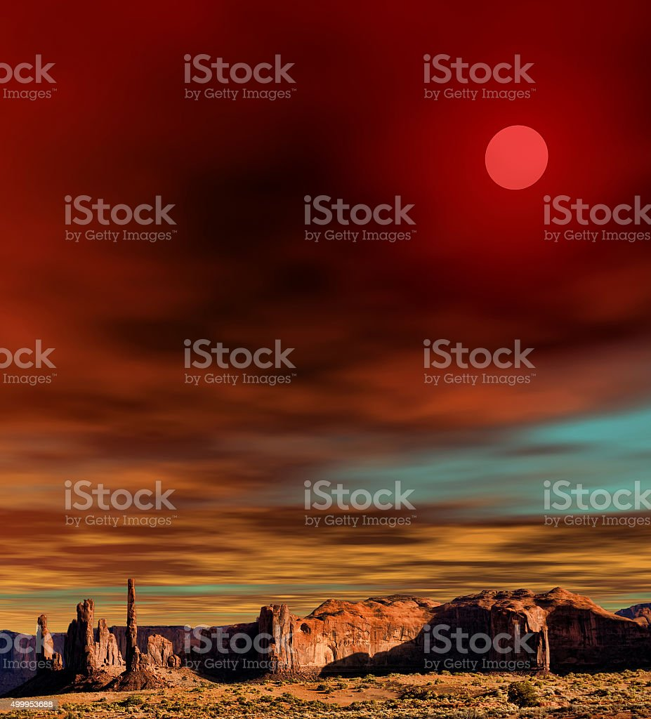 Sunset Monument Valley stock photo