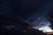Sunset moon over Long Bay, Saint Martin.
