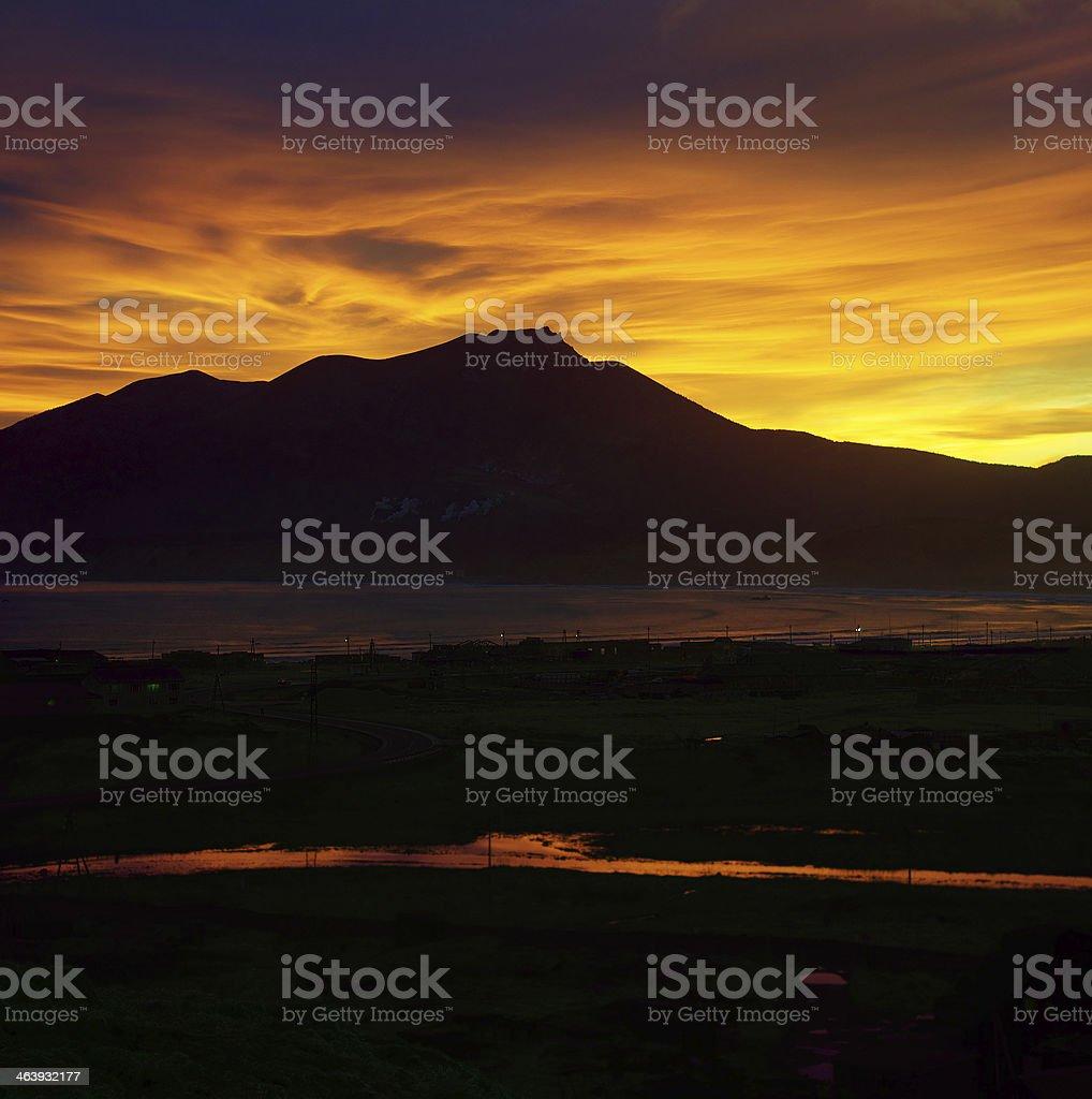 Sunset mountain bay stock photo