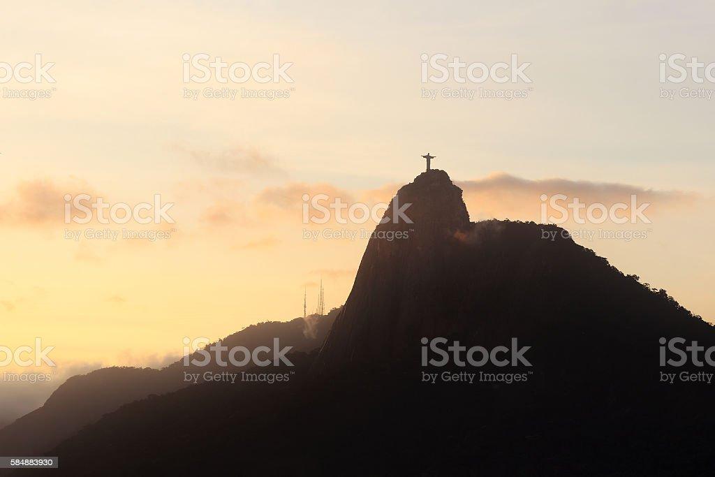 Sunset Mountain Corcovado, Rio de Janeiro stock photo