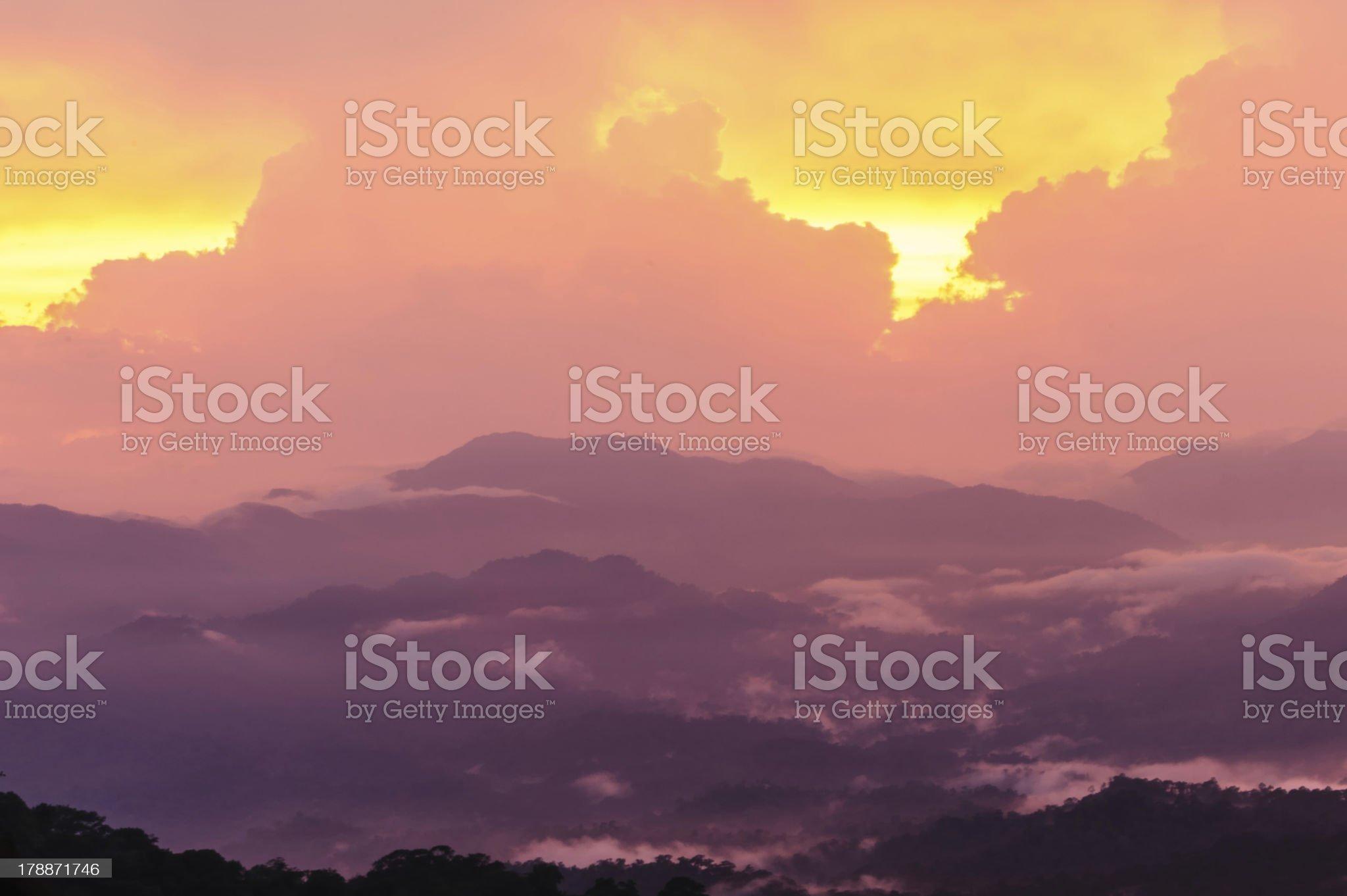 Sunset mountain landscape royalty-free stock photo