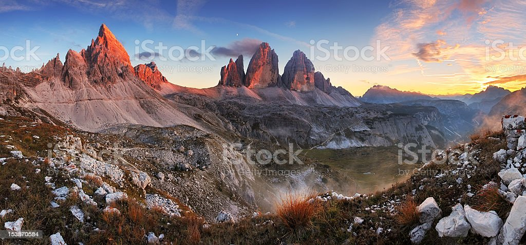 Sunset mountain panorama in Italy Dolomites - Tre Cime stock photo