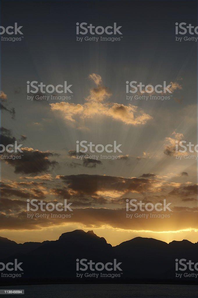 Sunset mountain stock photo