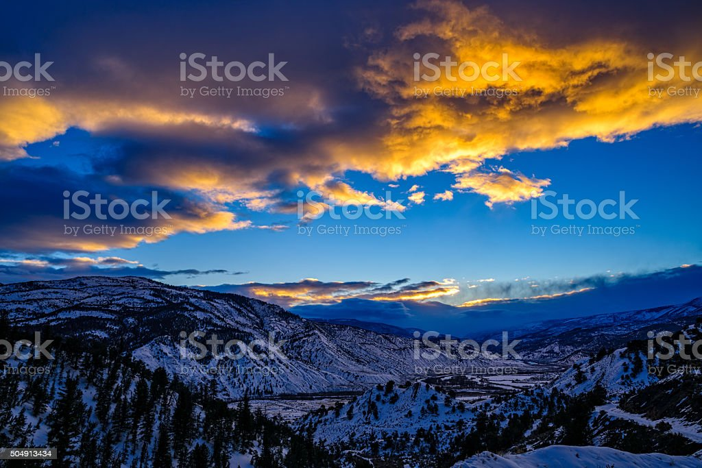 Sunset Mountain View in Winter stock photo