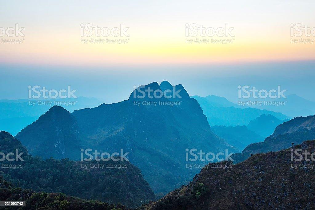 Sunset mountains Doi Luang Chiang Dao stock photo
