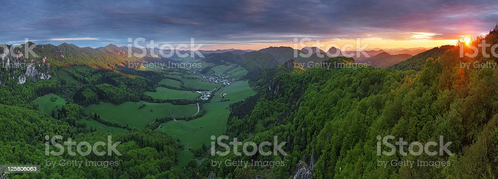 Sunset moutain panorama with dramatic sky royalty-free stock photo