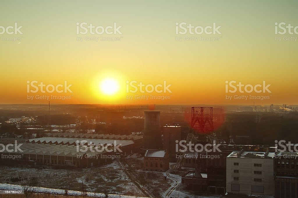 Sunset Near a Mining Site royalty-free stock photo