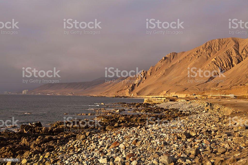 sunset near Antofagasta stock photo