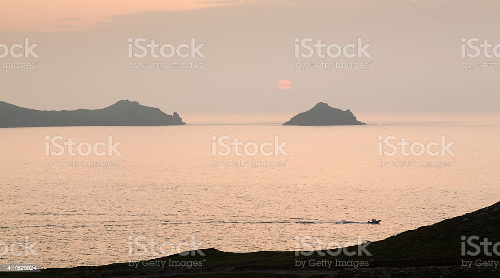 Sunset near Doyden Castle on coastline at Port Quin stock photo