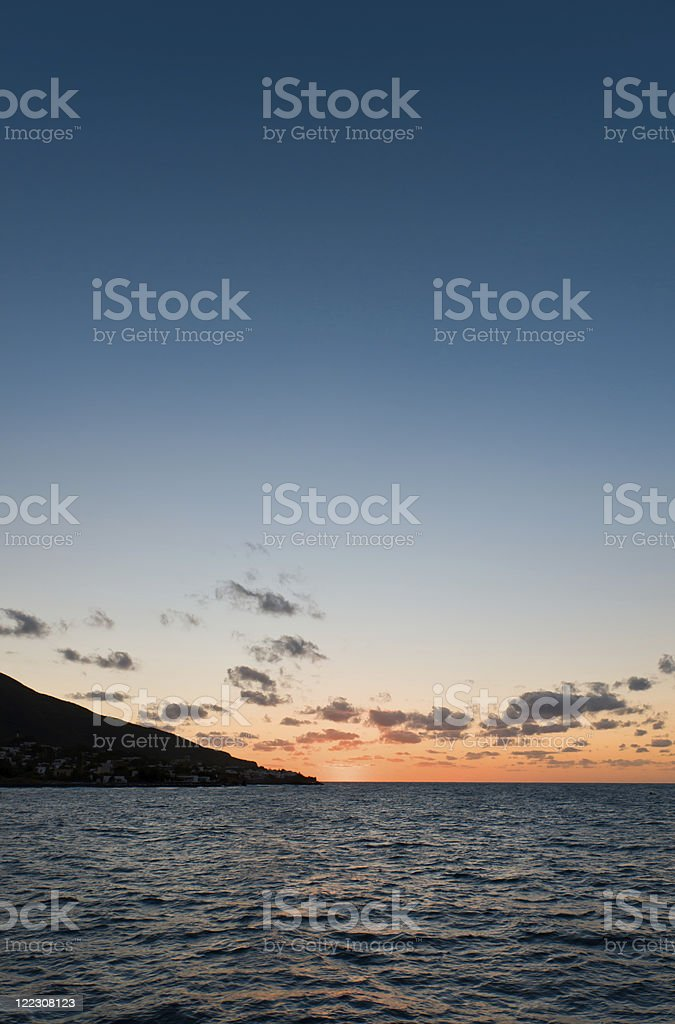 Sunset near Panarea island stock photo