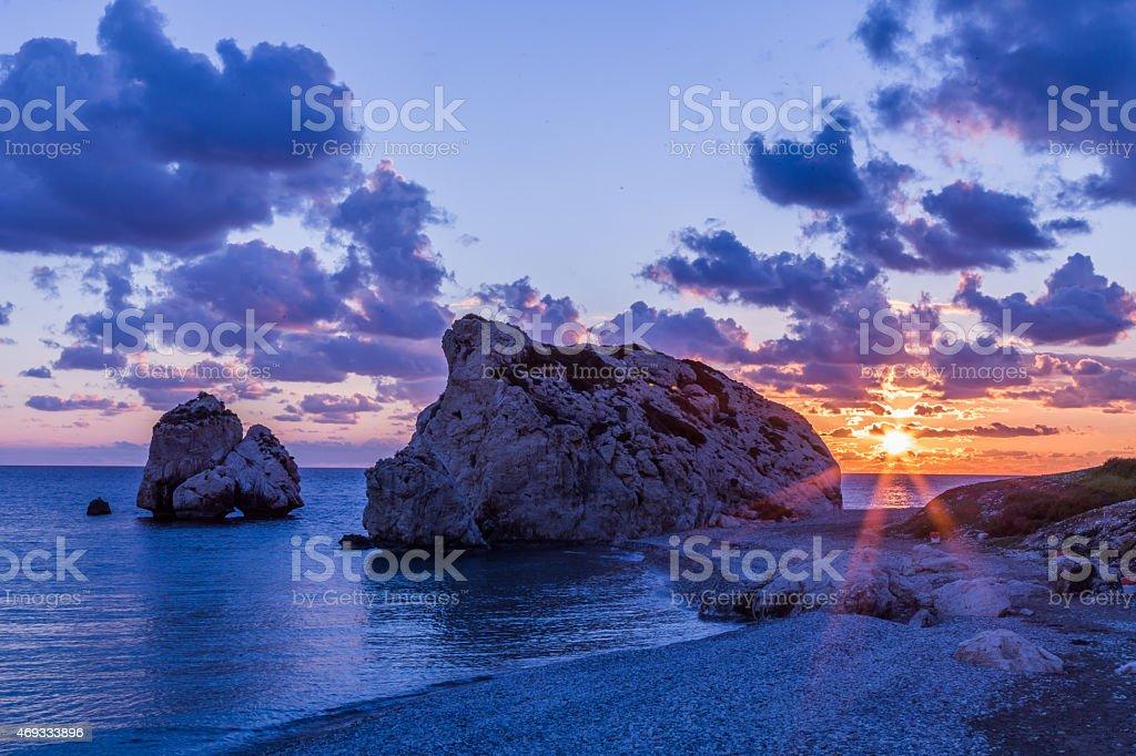 Sunset near Petra tou Romiou (Aphrodite's Rock), Cyprus stock photo