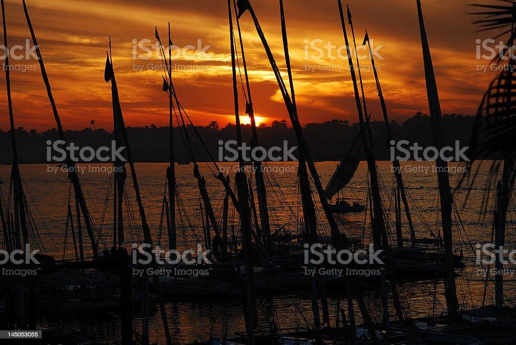 Sunset Nile Cruise stock photo