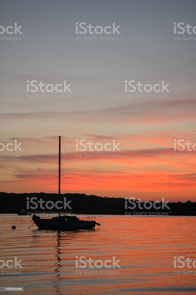 Sunset, Niles Beach, Gloucester, MA, With Sailboat royalty-free stock photo