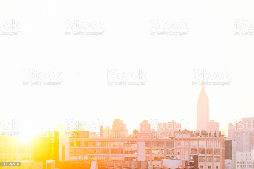 Sunset NYC Urban Skyline Backlit Travel Background with Copy Space stock photo