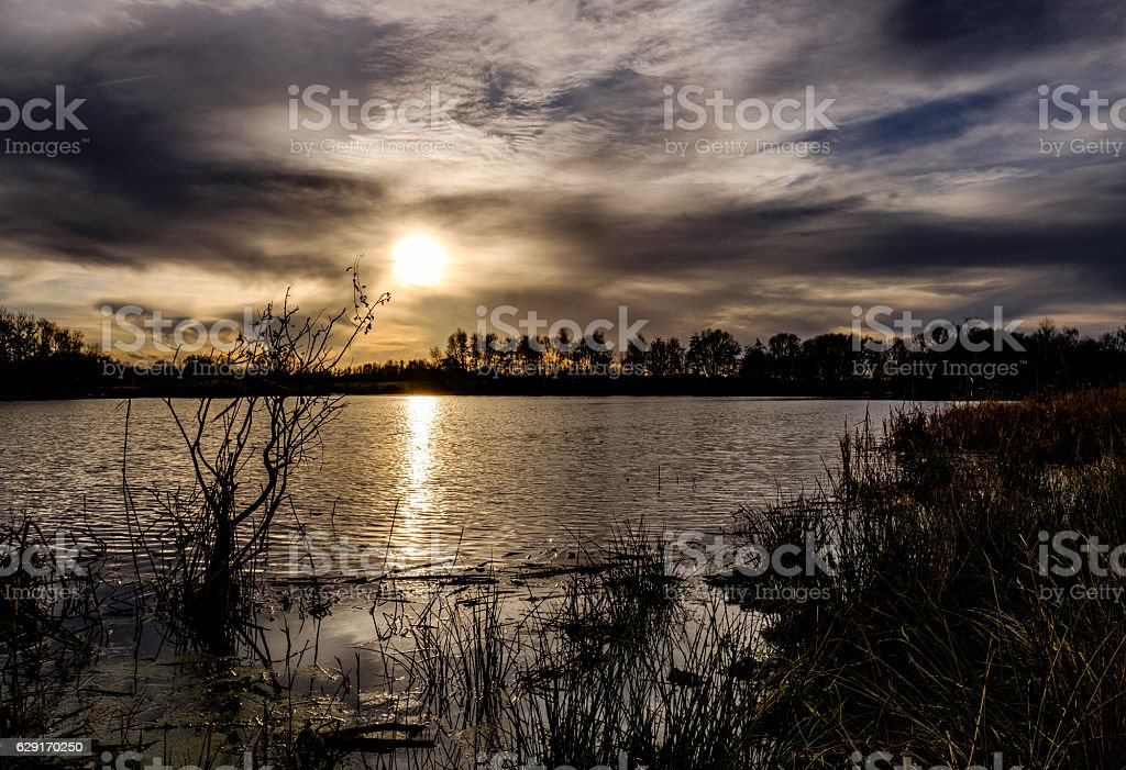 Sunset of a wildlife and nature reserve stock photo