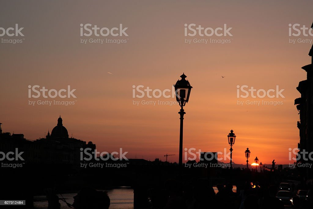 Sunset of  Arno River in Florence, Italy stock photo
