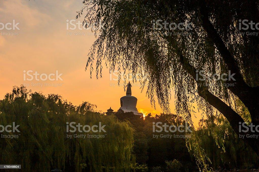Sunset of Beihai park in Beijing, China stock photo