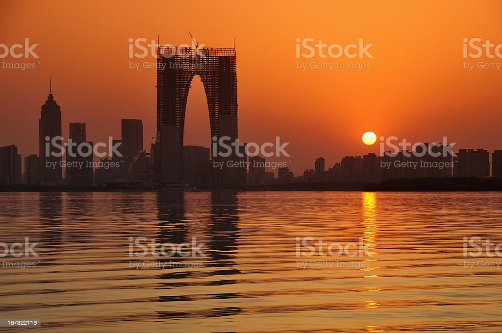 sunset of China city stock photo