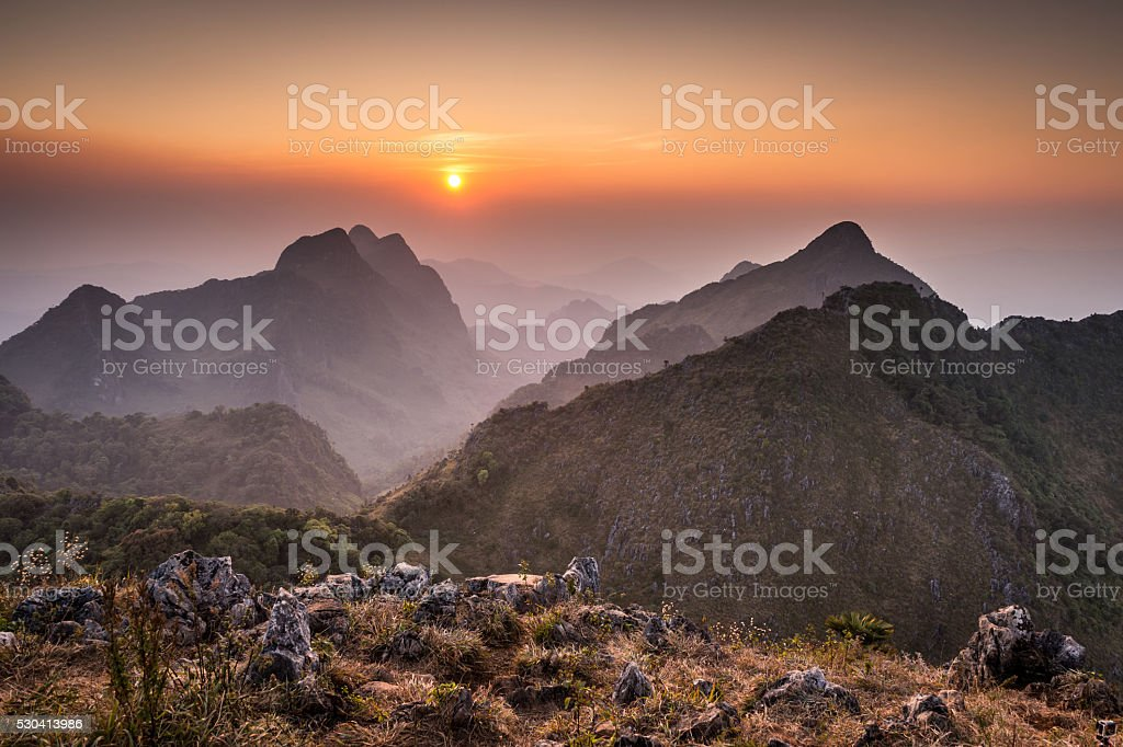 sunset of Doi Luang Chiang Dao Mountain Landscape stock photo
