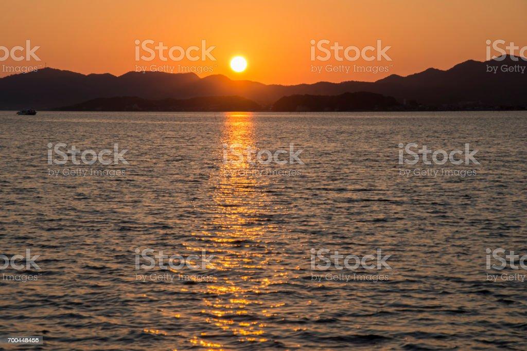 Sunset of Lake Shinji (Matsue) stock photo